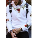 Mens Flower Embroidery Long Sleeve Drawstring Casual Pullover Hoodie