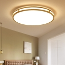Wooden Round Ceiling Mount Light Fixture Contemporary Acrylic LED Ceiling Lamp, 14