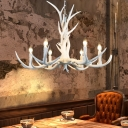 Lodge Antlers Suspension Light Resin 6/15 Lights Chandelier Lighting Fixture with Adjustable Chain in White