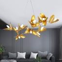 Golden Leaf Chandelier Lamp Modernism Metal 11/13 Bulbs Pendant Lighting with Adjustable Cord