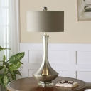 Colonial Drum Table Lamp with Gold/Silver Metal Base Fabric Shade 1 Light Table Lighting for Bedroom