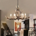 Contemporary Candle Ceiling Pendant Light with Antlers Decoration Resin 6/8 Lights Pendant Chandelier in Khaki