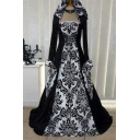 Renaissance Gothic Vintage Floral Print Gathered Waist Halloween Costume Dress