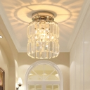 Mini Cylinder Flush Lighting Modernism Clear Crystal Shade Single Light Indoor Ceiling Lamp in Chrome for Corridor