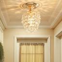 Crystal Bead Mini Semi Flush Ceiling Light Contemporary 1 Bulb Corridor Semi Flushmount Lighting in Gold