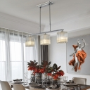 3 Heads Linear Pendant Light Contemporary Clear Faceted Crystal Kitchen Island Lighting in Chrome
