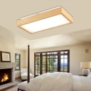 1/4-Head Rectangle Ceiling Lamp Acrylic and Wood Modernism Ceiling Mounted Fixture in Warm/White Light