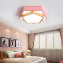 Green/Blue/Pink Pentagon Flush Mount Lamp Macaron Acrylic 14
