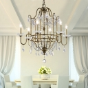 4/6 Heads Candle Pendant Light Fixture Modern Metal Hanging Chandelier with Crystal Bead in Brass