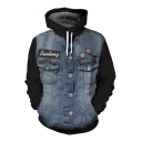 New Arrival Fashion Digital Denim Jacket Pattern Long Sleeve Unisex Hoodie