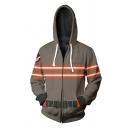 New Arrival Ghostbusters Cosplay Costume Contrast Stripe Printed Long Sleeve Grey Drawstring Zip Up Hoodie