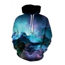 Unisex Novelty 3D Printed Colorful Galaxy Pattern Pullover Hoodie