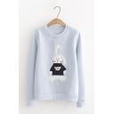 Autumn Fashion Cartoon Animal Rabbit Printed Long Sleeve Pullover Sweatshirt