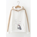 Cat Printed Kangaroo Pocket Contrast Trim Long Sleeve Loose Fit Drawstring Hoodie
