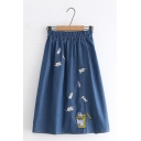 Lovely Cats Embroidery Elastic Waist Denim Midi A-Line Skirt