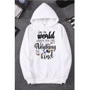 Fashion Letter IN A WORLD WHERE YOU CAN BE ANYTHING BE KIND Printed White Pullover Hoodie