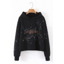 Embroidered Horse Star Letter PIERCED Print Long Sleeve Black Loose Fit Hoodie