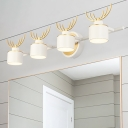 2/3/4 Lights Drum Vanity Light Contemporary Led White Wall Lighting with Metal Shade and Antler Accents