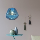Diamond Hanging Lamp with Black/Blue/Copper/Gold/Silver Acrylic Shade Adjustable Post Modern Single Pendant Light
