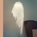 White Feather Pendant Lighting Modern Nordic Single Light Hanging Ceiling Light, 23.5
