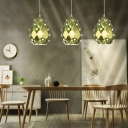 Stainless Steel Faceted Pendant Lamp 1 Light/3 Lights Gold Ceiling Hanging Light with Crystal Accents