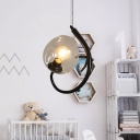 1/2 Lights Bubble Pendant Lighting Vintage Clear Glass Suspended Light in Black/Bronze
