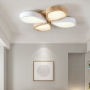 4/6 Light Floral Flush Mount Light Fixture Nordic Style Wooden Ceiling Light for Bedroom Living Room, Warm/White
