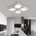 Petal Flushmount Lighting Modern Acrylic 4/5/6 Lights Indoor Flush Light with Crystal Ball