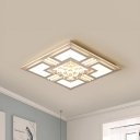 Square/Rectangle Flush Lighting with Crystal Ball Contemporary Metal Ceiling Flush Mount in Warm/White