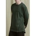 Mens Cool Fashion Letter Embroidered Zipper Embellished Long Sleeve Round Neck Casual Pullover Sweatshirt