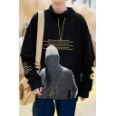 Mens New Fashion Cool Figure Letter Printed Fake Two-Piece Long Sleeve Casual Sports Hoodie