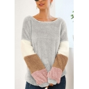 New Stylish Color Block Round Neck Long Sleeve Loose Leisure Fluffy Teddy Sweatshirt