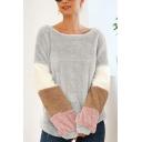 New Stylish Color Block Round Neck Long Sleeve Loose Leisure Fluffy Teddy Sweatshirt