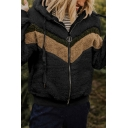 Women's Stylish Warm Fluffy Color Block Long Sleeves Loose Fit Zip Up Hoodie