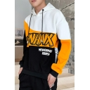 Mens Cool Fashion Black and Yellow Colorblock Letter Printed Casual Sports Hoodie