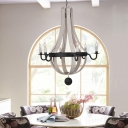 Empire Chandelier Lighting Country Style 6 Lights Blue/White Wood Hanging Ceiling Light