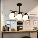 Milk Glass Orb Pendant Lamp Modern 3 Lights Kitchen Island Light in Black Finish