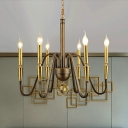 Metal Candle Chandelier Lighting Colonial 6/8 Lights Brass Dining Room Pendant Lamp with Chain