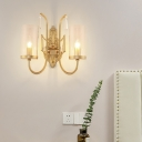 European Style Cylinder Wall Light with Crystal 1/2 Lights Metal Sconce Light in Gold for Corridor