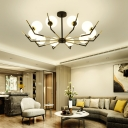 6/8/10 Lights Ball Chandelier Lighting Modern Opal Glass Pendant Lamp in Black for Living Room