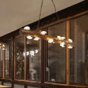 Loft Linear Island Lighting with Mushroom Shade 12 Lights Brown Wood Hanging Pendant Light