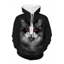 New Fashion 3D Horror Cat Printed Long Sleeve Casual Drawstring Hoodie