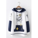 Funny Embroidery Character Star Color-Block Pocket Long Sleeve Loose Hoodie
