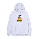 Unisex Simple Letter Cartoon Food Pattern Long Sleeve Plain Boxy Hoodie