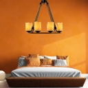 Amber Cylinder Chandelier Lighting Country Style 8 Lights Indoor Hanging Lamp in Black for Living Room