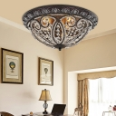 3 Lights Bowl Flush Lighting Traditional Crystal Bronze Flushmount Lamp for Living Room