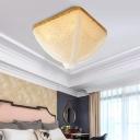 Modern Vintage Square Flush Lighting White Crystal Bead 4 Lights Flush Ceiling Lamp for Living Room