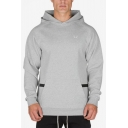 Simple Small Wing Printed Front Long Sleeve Regular Fit Sport Hoodie with Zipper Pocket