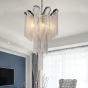 4 Bulbs Metal Chain Chandelier Lighting Art Deco Pendant Light in Silver for Living Room