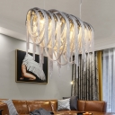 7 Lights Chain Chandelier Lamp Modern Silver Hanging Ceiling Light for Dining Table